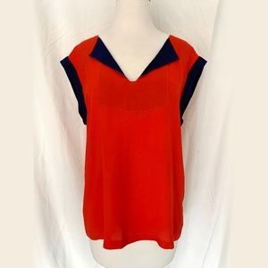 Marc Jacobs Silk Red and Navy Blouse M
